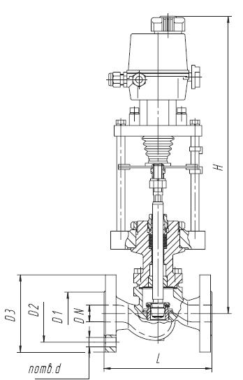 Клапан стальной фланцевый 25с947нж